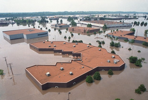This photo of an industrial park in the Chesterfield Bottoms in the flood of 1993. Photo from a St. Louis Post-Dispatch retrospective article.