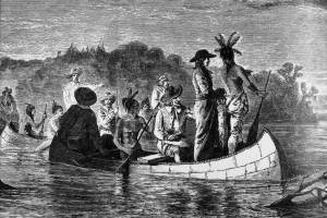 Illinois indians lead a group of french explorers, including Jacques Marquette & Louis Joliet, on the first recorded exploration of the Mississippi River.