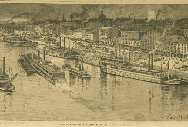 St. Louis, from the Mississippi River - View of the levee from the Ead's Bridge. Wood engraving after Charles Graham, 1888. From Harper's Weekly, 9 May 1888, Supplement, p. 422. Missouri Historical Society Photographs and Prints Collections. River 0376. Scan © 2006, Missouri Historical Society.