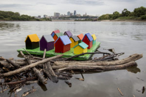 """Don Wilkison's """"Tiny Houses""""  at the Confluence of the Kansas & Missouri Rivers in Kansas City."""